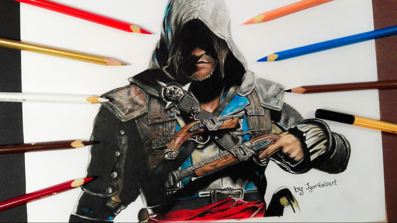 Speed Drawing Assassin S Creed 4 Black Flag Edward Kenway