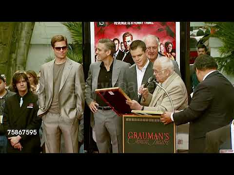 Brad Pitt, George Clooney, Matt Damon, Jerry Weintraub, and Johnny Grant for Ocean's Thirteen