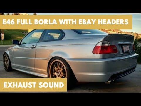 e46 bmw 330ci full borla with ebay headers exhaust sound