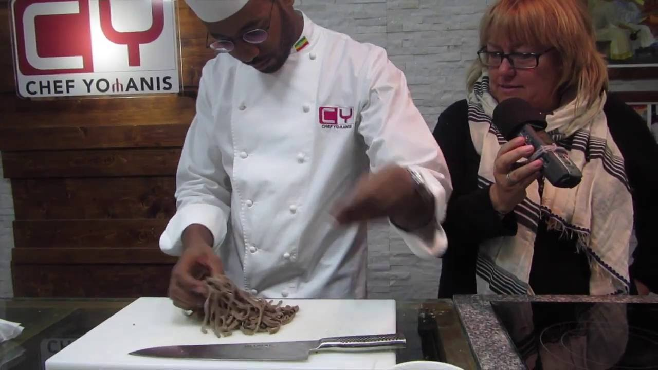 Suzanne learns to make a Teff-Pasta with Antica Chef Yohanis