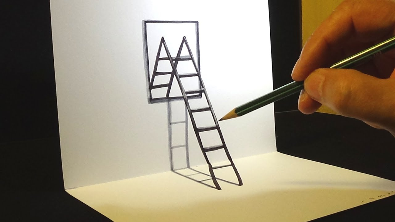 How to draw 3d ladder mirror drawing for kids adults for 3d art maker online