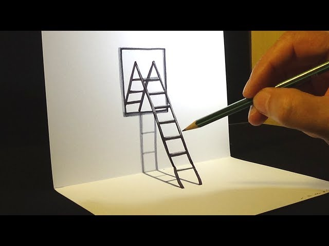 How to Draw 3D Ladder & Mirror - Drawing for Kids & Adults - VamosART