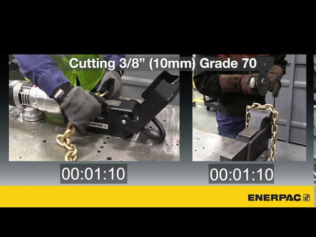 Speed Comparison - Cutting Chain with an ECCE26B Chain Cutter v Angle Grinder | Enerpac