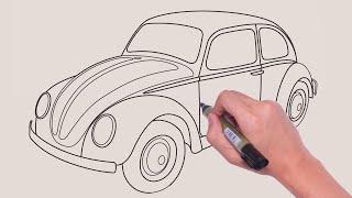 Volkswagen Beetle  VOSVOS Nasıl Çizilir?  ÇOK KOLAY