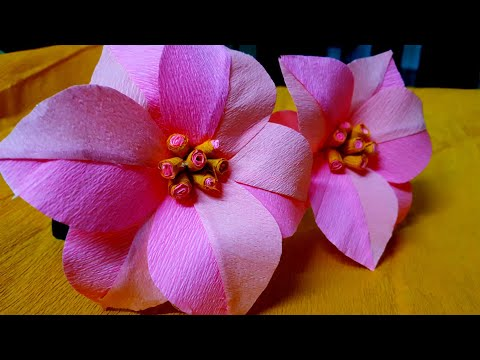 How to make poinsettia paper flowers from crepe paper/tutorial/crafito art & craft