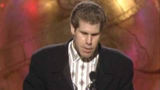 Ron perlman wins a golden globe for actor in tv series drama beauty and the beast. award is presented by valeria golino & peter strauss. his tha...