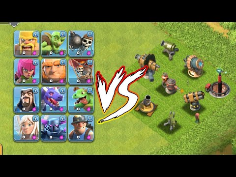 Boombeach Vs Clash Of Clans | Shook Launcher, Cannon, Flamethrower, Etc Vs All Coc Troop