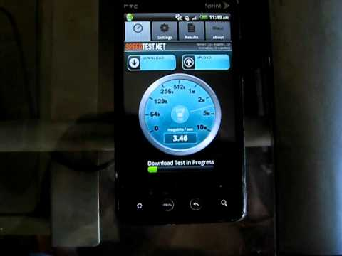 HTC EVO 4G speed test near Los Angeles
