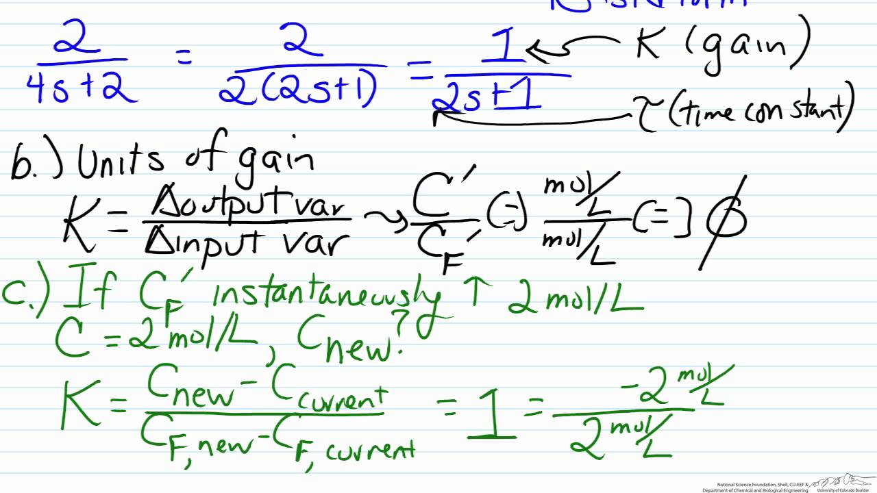 Finding Gain And Time Constant From A Transfer Function Model Youtube R C Circuit Diagram