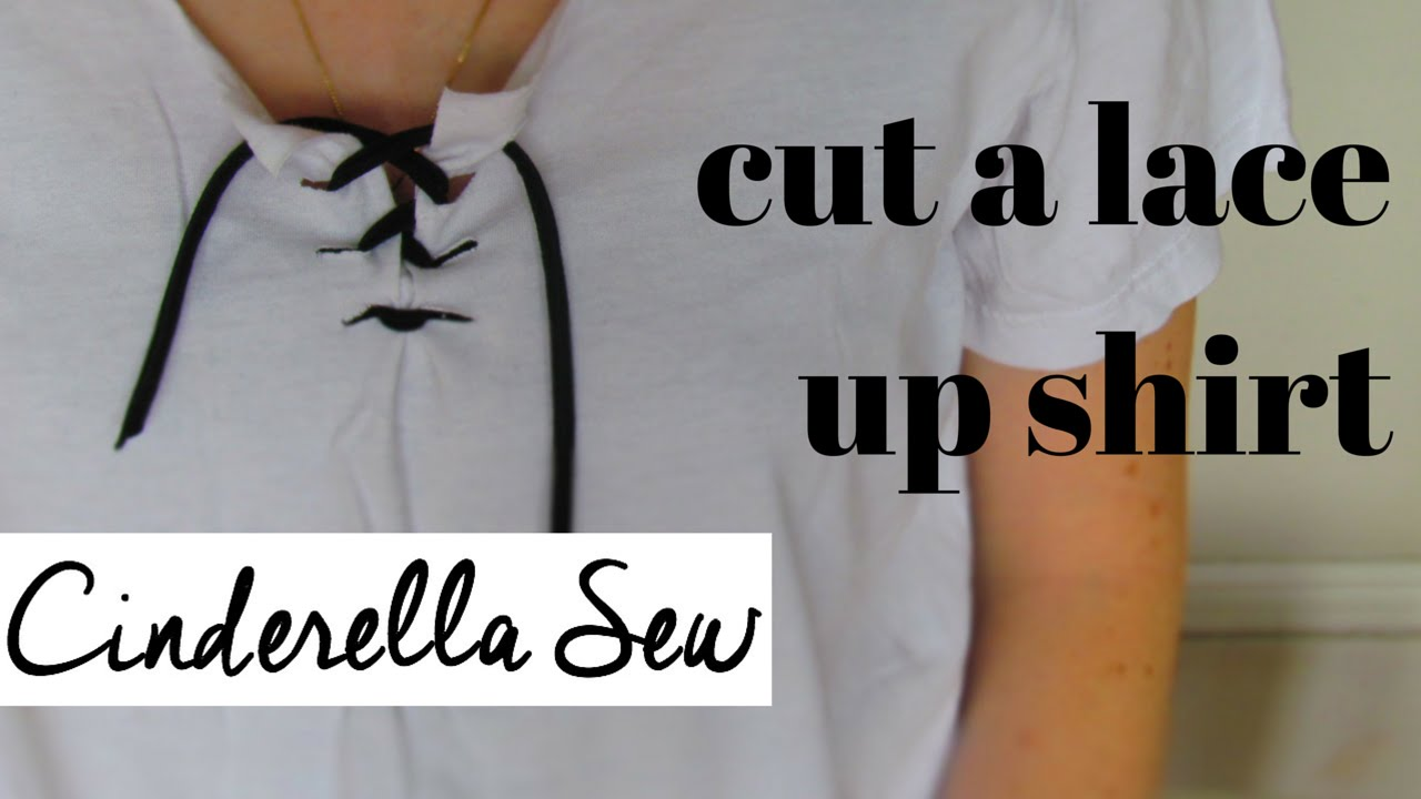 Design t shirt easy - How To Make A Lace Up Shirt Cut A Tie Up Shirt Easy Diy T Shirt Design Tutorial Cinderella Sew