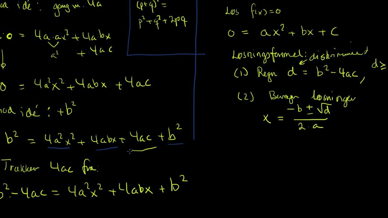 Bevis for løsningsformel til andengradsligning
