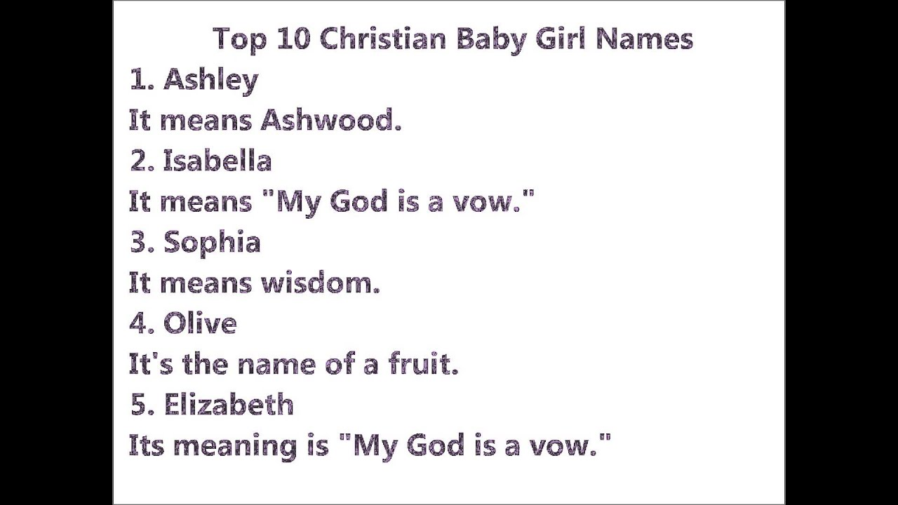 Top 10 Christian Baby Girl Names