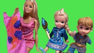 Elsa and Anna toddlers clothes decorating with Barbie, the Disney princesses and my little pony