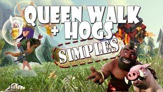 Aprenda como fazer uma SIMPLES QUEEN WALK + Hogs no CV10 | Clash of Clans.