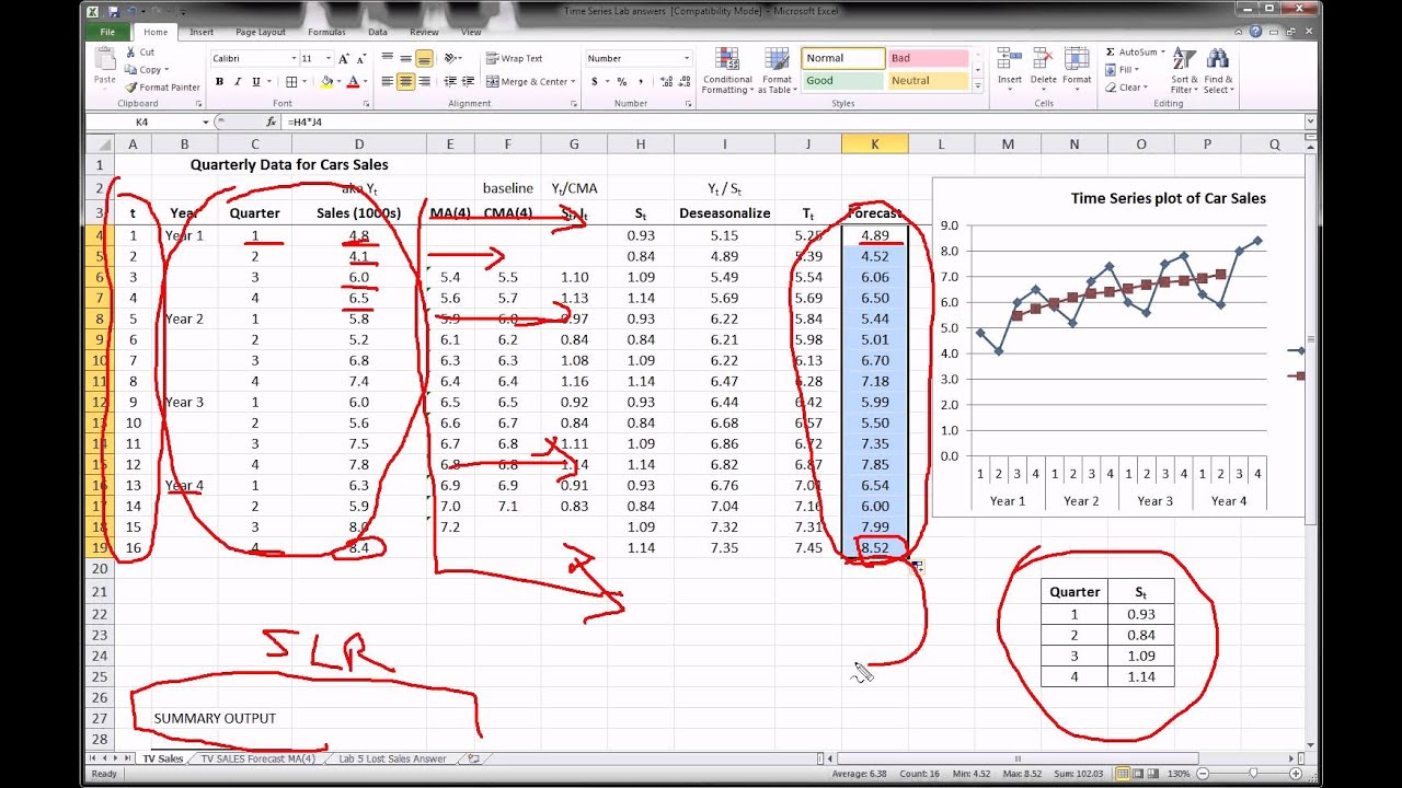 Excel - Time Series Forecasting - Part 3 of 3 - YouTube