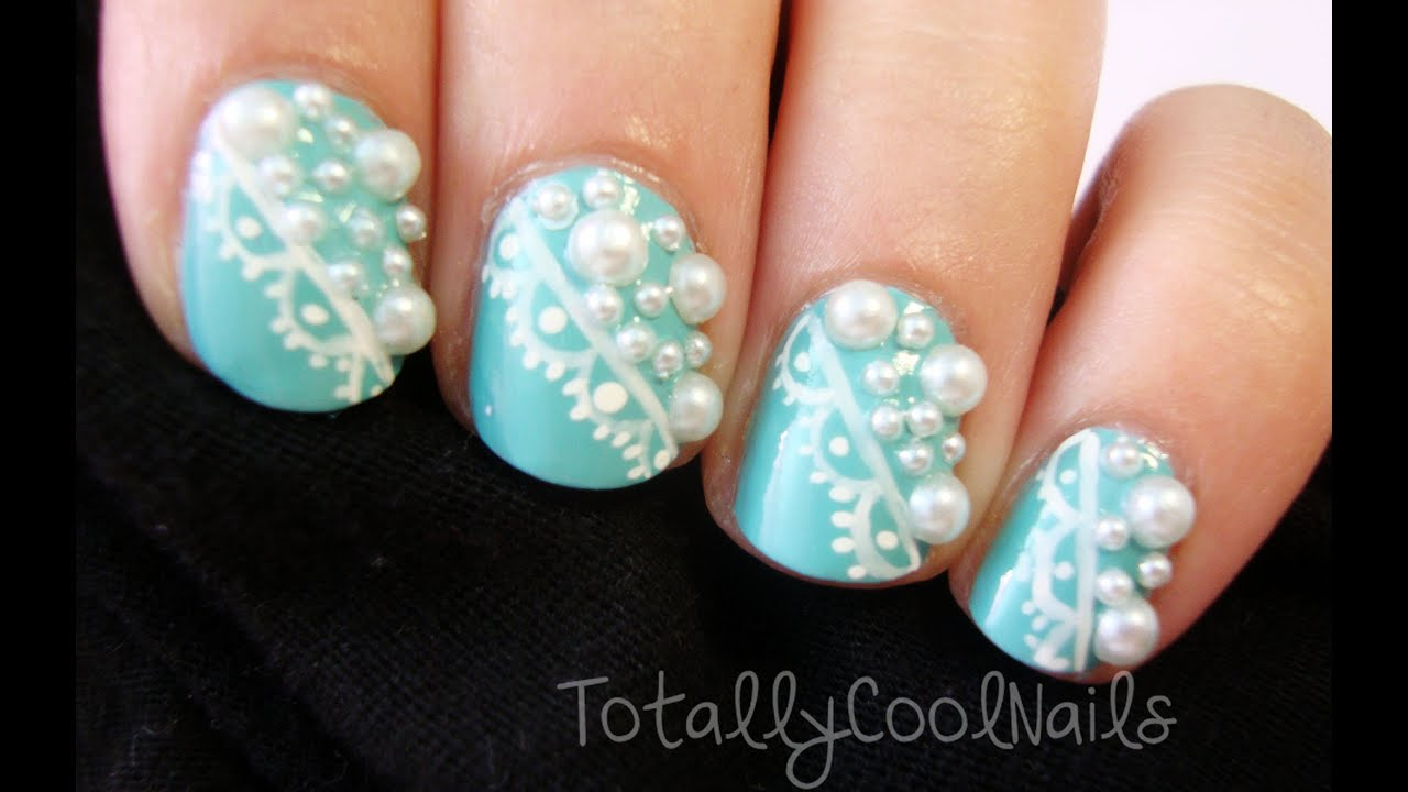 Elegant lace and pearl nail art youtube prinsesfo Image collections