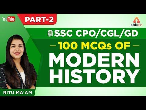 100 MCQs | Modern History | Part 2 | SSC CPO/CGL/GD | General Studies