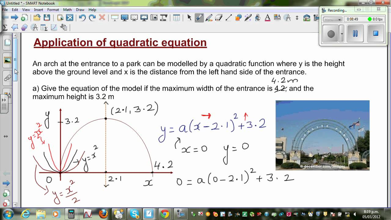 Application of quadratic equation to find the equation of ... Quadratic Equation In Real Life