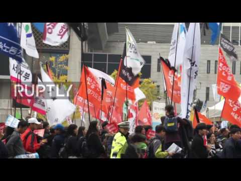 South Korea: Tens of thousands call for President Park Geun-hye to resign