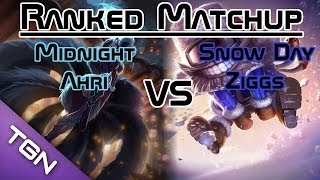League of Legends - Ranked Matchup: Midnight Ahri VS Snow Day Ziggs