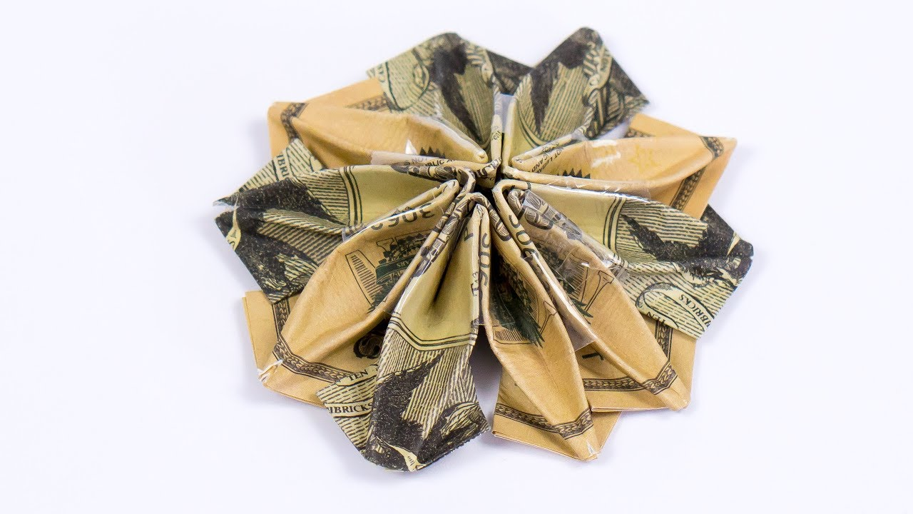 Money Origami Flower Folding Instructions With Dollar Bills Youtube