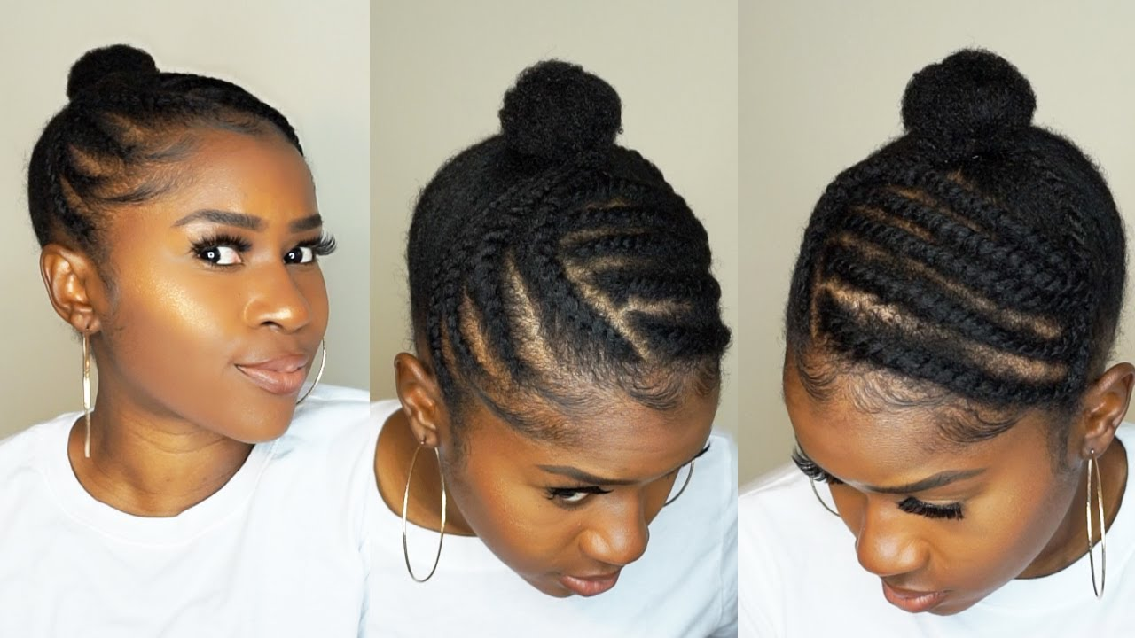 Everyday Flat Twist Style & Bun Without Weave On Short 4C Natural Hair!!!