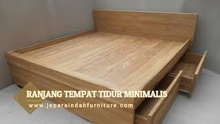 Ranjang Kamar Jati Minimalis Rangka Tempat Tidur 4 Laci