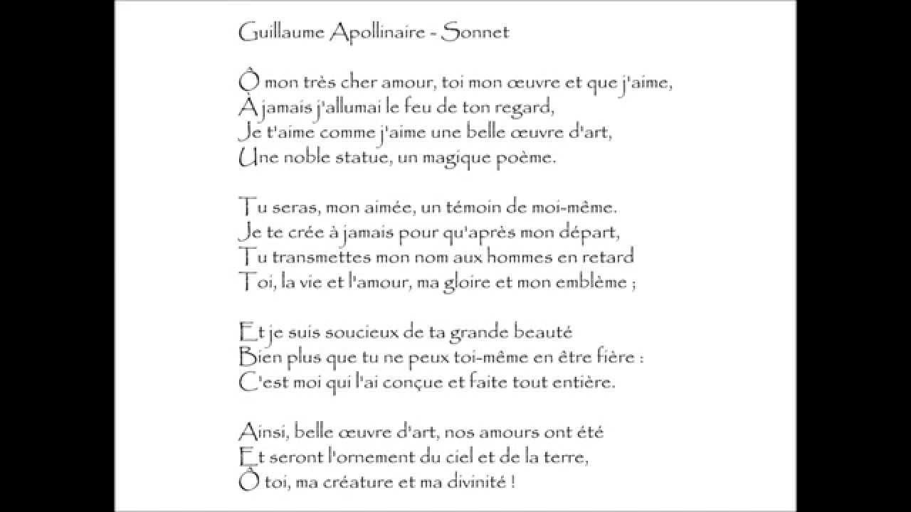 Apollinaire Sonnet ô Mon Très Cher Amour Audiothèque