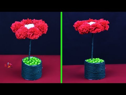 Woolen Tree Making Tutorial | Wool Artificial Plant | DIY Pom Pom Tree | Wool Showpiece Craft Idea