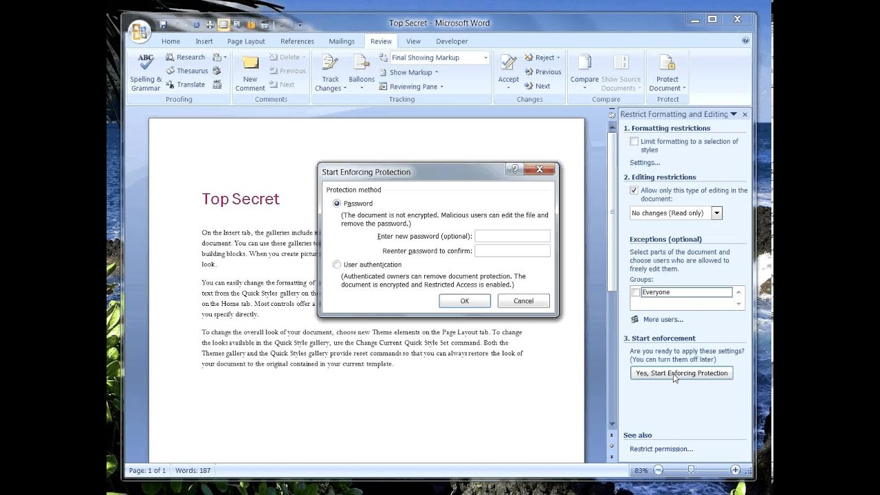 ms word protect part of document