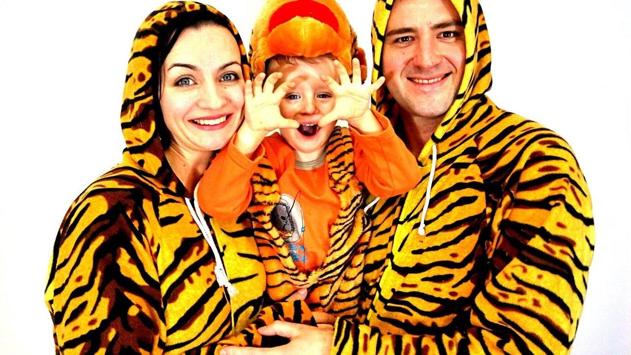 Маленький тигренок и тигрята папа и мама! Видео про тигров ...