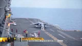 Marine Jet makes a Vertical Emergency Landing on Carrier