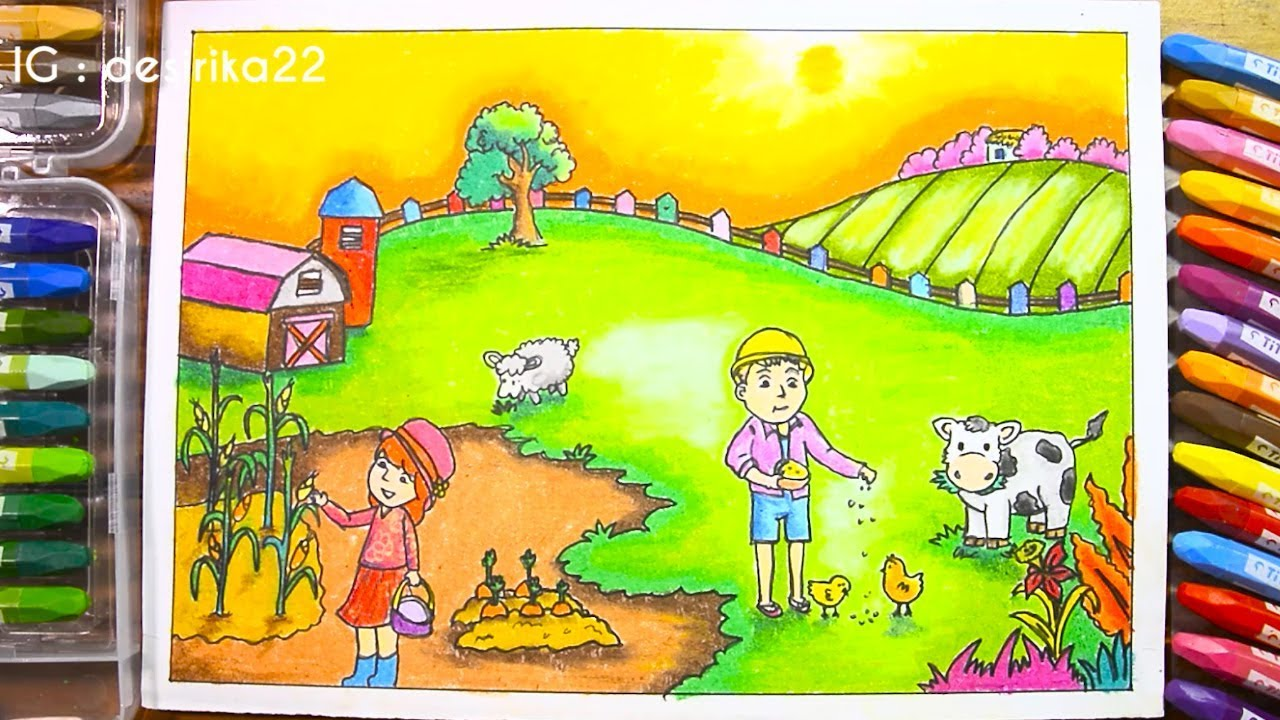 Cara Menggambar Peternakan Gradasi Warna Oil Pastel DRAWING FARM ANIMAL