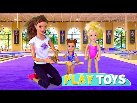 Thumbnail: Barbie Doll Gymnastics Lesson! Play Barbie Baby Dolls morning routine 4 FOOTBALL, Soccer, Ballet!