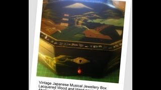 Snazlondon Vintage Japanese Musical Jewellery Box Hand Painted Abalone Shell Inlay Wooden Lacquered