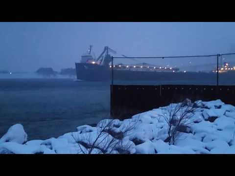 Freighter in a Lake Huron Snowstorm