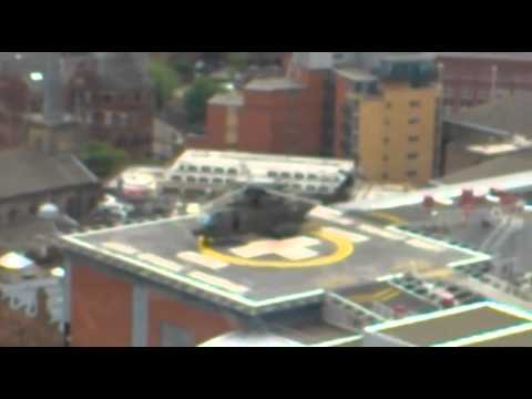 Merlin helicopter stops at Leeds LGI.