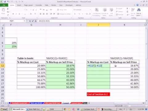 excel 2010 business math 71 convert markup on cost to markup on