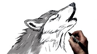 How To Draw A Howling Wolf   Step By Step