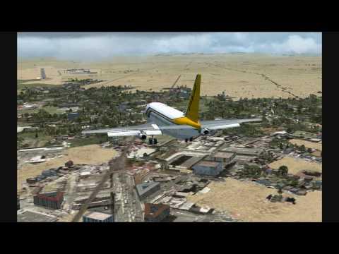 FSX 13. Sudan Airways Boeing 737 200 landing at Dar es Salaam International Airport, Tanzania.