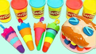 Feeding Mr. Play Doh Head Colorful Umbrella Shaped Play Doh Ice Cream Popsicles!