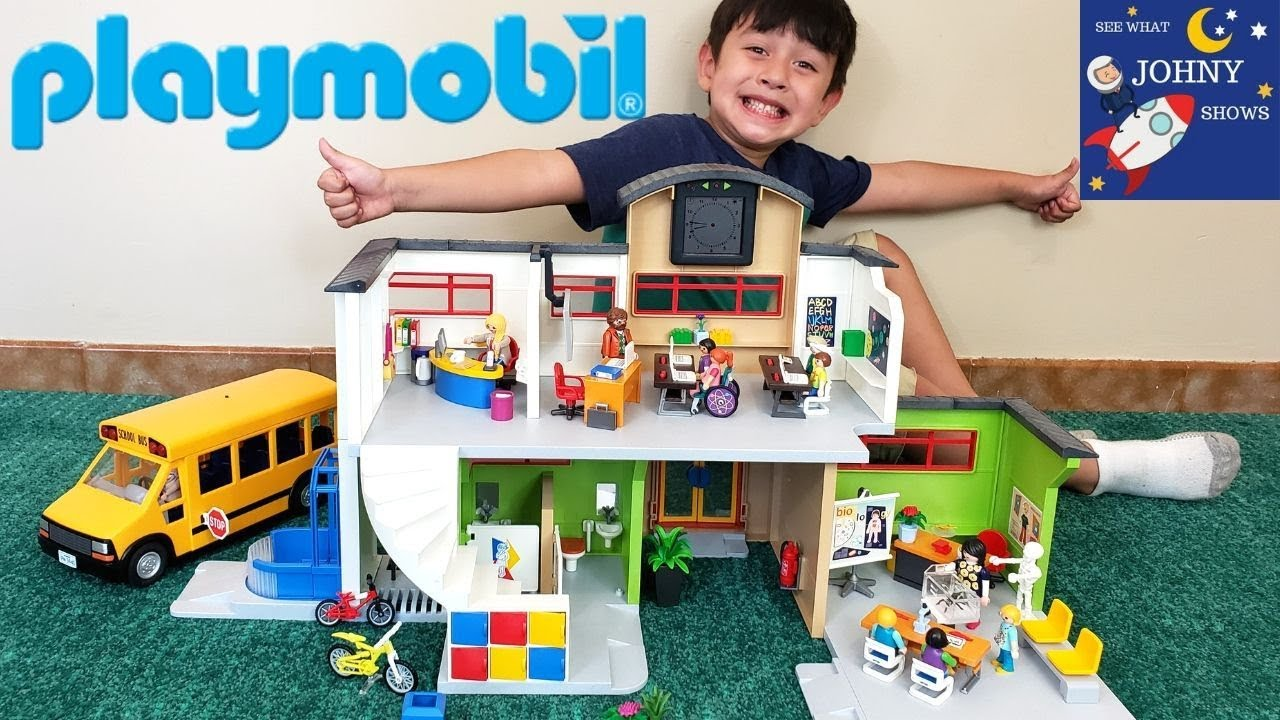 NEW Playmobil City Life Furnished School Building & Playmobil School Bus Toy  - YouTube