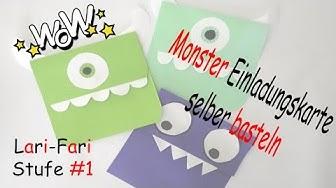 Monster Einladungskarte Basteln - DIY - Mike aus Monster AG - Selber machen aus Papier