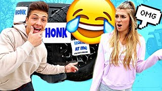 HONK AT ME PRANK *SHE GETS MAD*