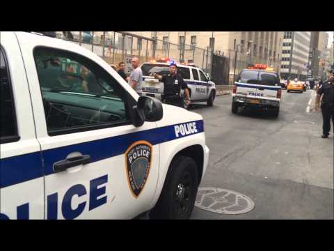 NY & NJ PORT AUTHORITY POLICE & NYPD ARRESTING DRUNK DRIVER WHO CRASHED HIS CAR NEAR WTC.