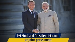 PM Modi and President Macron at joint press meet