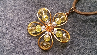 apricot flowers pendant - How to make pendant from copper wire 204