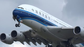 Heavy Planes (incl 2x A380) Taking Off In Strong Winds At Schiphol Airport