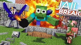 Monster School : ZOMBIE JAILBREAK CHALLENGE - Minecraft Animation