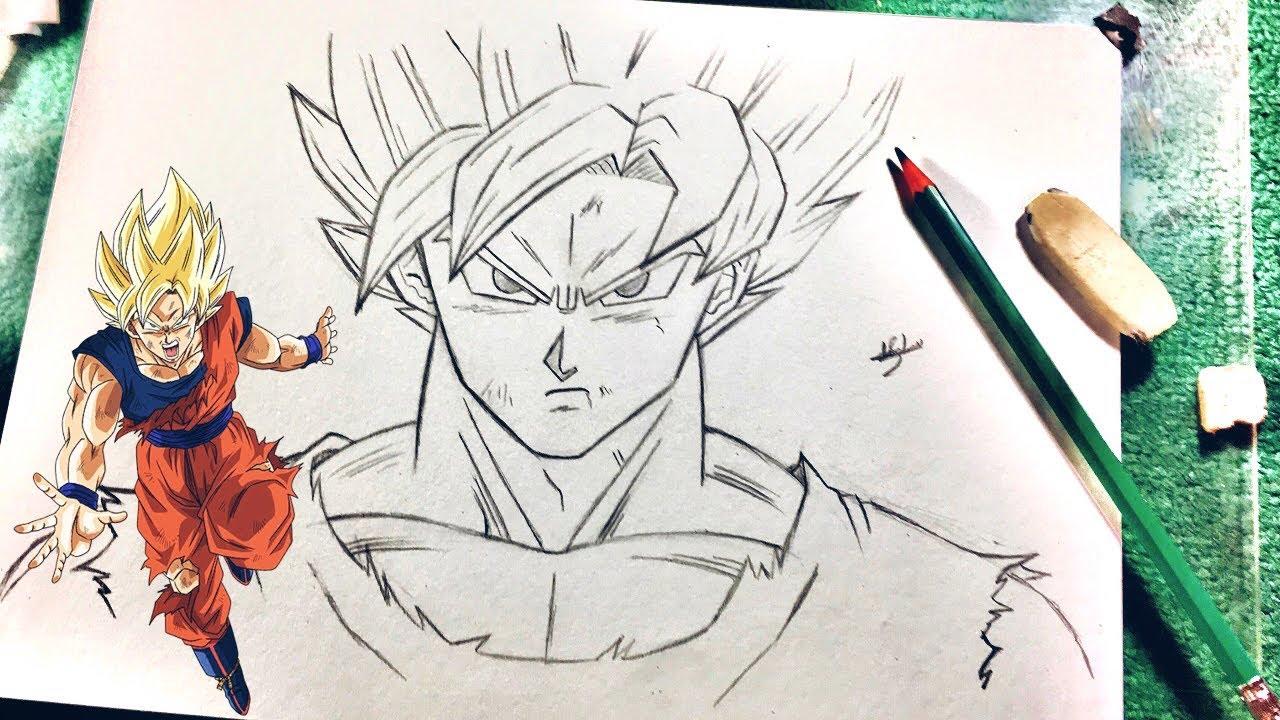 تعلم رسم الأنمي كيف ترسم غوكو سوبر ساين بقلم رصاص و بطريقة
